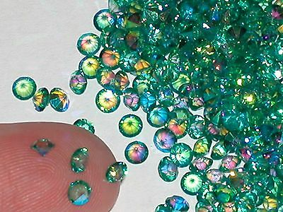 30pc Tiny little Mermaid Crystals rhinestone fairy gems 3mm AB Peacock Green