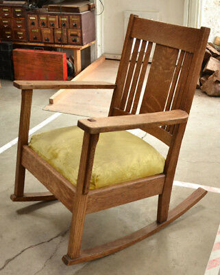 Antique Arts & Crafts Old Mission Style Stickley Era Solid Oak Rocking Chair
