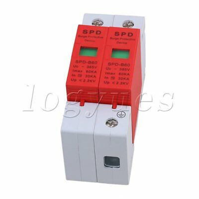 Din Rail Over Voltage Surge Protection Device Lightning Arrester 2P 30-60KA
