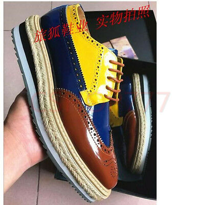 Mens Oxford stylish Wing Tip Platform Wedge Heel Leather Brogue Lace Up Shoes