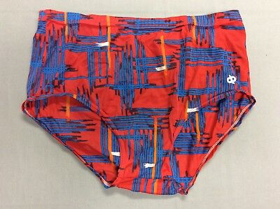 Vintage 70S 80S Jockey Life Dp's Red & Blue Tricot Briefs Mens Size Large 36-38
