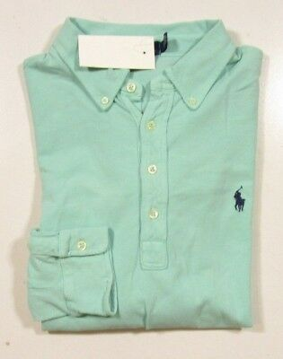 Polo Ralph Lauren Men's L/S Weathered Green Featherweight Mesh Polo Shirt