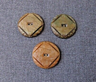 3 Antique 1930's Art Deco Assorted Colors  Carved Galalith Large Buttons