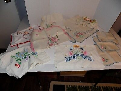 Lot of 10 Vintage Embroidered Table Cloth, Runners, Napkins Lot #2