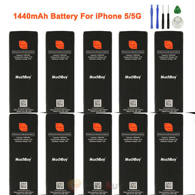 10X 1440mAh Li-ion Internal Battery Replace Flex Cable For iPhone 5/5G W/ Tools