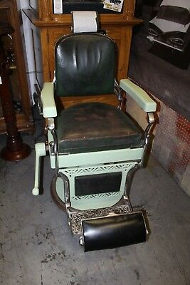 1930-40s Original Koken Antique Porcelain Barber Chair Green Unrestored