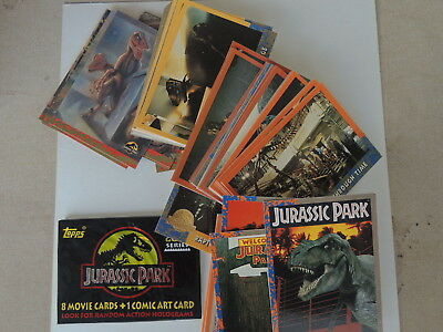 Jurassic Park Dinosaur Deluxe Gold 88 Card Set Plus 10 Comic Art Cards Included