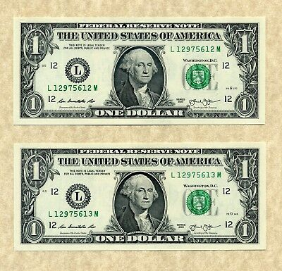 YOU GET 2! $1 SAN FRANCISCO 2013 UNCIRCULATED #L/M One Dollar Notes + Holder