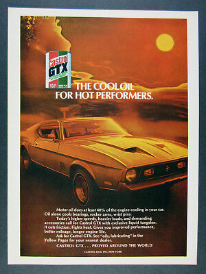 1971 Ford Mustang Mach 1 photo Castrol GTX Oil vintage print Ad
