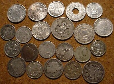 22 Different World Silver Coins 1856-1962 Including Canada & Usa See Description