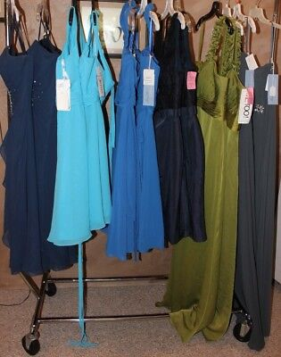 NWT LOT of 12 dresses, 6 Matched sets of bridesmaids, LONG and Short, Variety