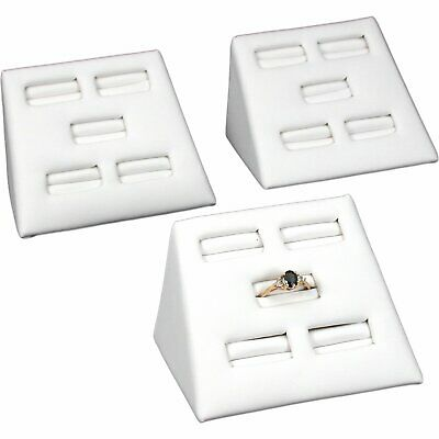 3 White Faux Leather 5 Slot Ring Displays