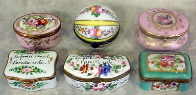 Lot Of 6 Humpback  Limoges Trinket Box's With Hinge Made In France Handpainted