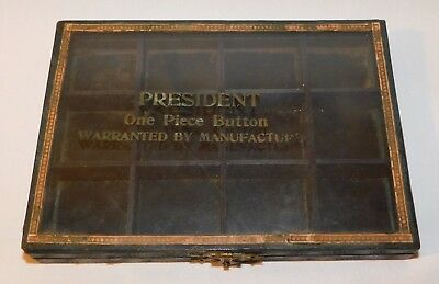 RARE old President One Piece Button Advertising Button Box with Glass Lid