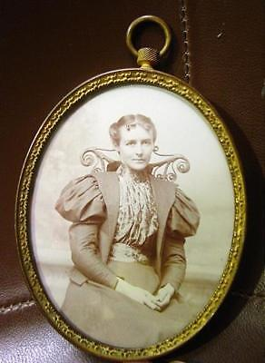 "Antique Gilded Metal Miniature Wall Picture Frame For 3 1/4"" X 2 1/2"" Photo 1910"