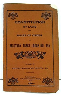 1925 IOOF Miltary Tract Lodge Macomb Il Lodge Bylaws Rules Of Order Odd Fellows
