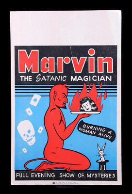 1950S Marvin The Satanic Magician Cardtock Show Sign Burns A Woman Alive