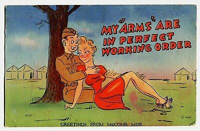 GREETINGS From McCOMB, MISSISSIPPI ~ WWII COMIC HUMOR MILITARY SOLDIER POSTCARD