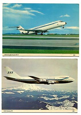Pair SAS SCANDINAVIAN AIRLINES PHOTO POSTCARDS ~ DOUGLAS SUPER DC-9 & BOEING 747