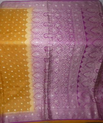 Antique Vintage Weaving Woven Fabric Pure Silk Sari Saree Craft Deco