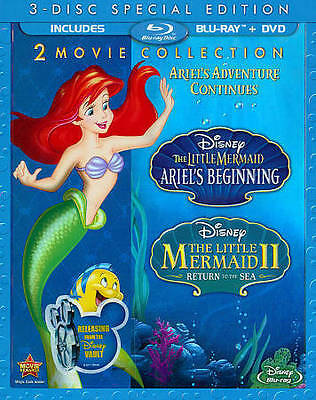 Disney's The Little Mermaid II & III Sp. Ed 3-Disc Blu-Ray + DVD NEW RARE OOP!