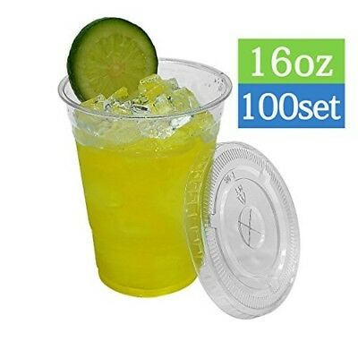 16 oz Crystal Clear BPA Free Disposable Plastic Cups with Flat Lids, 100 Sets
