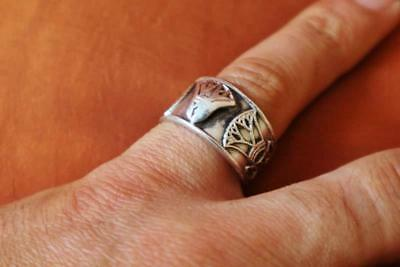 Antique Silver Ring Band Adjustable of Ancient Egyptian Lotus Flower....STAMPED