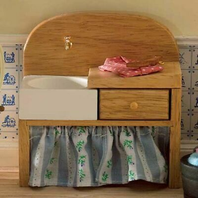 1/12 Scale Dolls House Emporium pine sink unit with basin and drainer 5090
