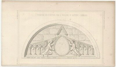 1849 Engraved Plate of Medieval Architectural Details - Romanesque Tympanum