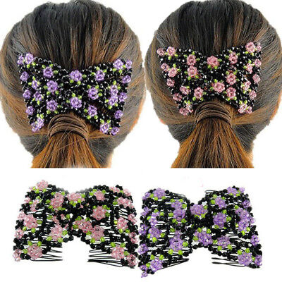 Magic Hair Slide Easy Double Beads Stretchy Hair Comb Clip Stretchable Hairpin
