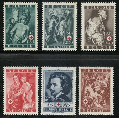 Belgium 1944 MNH Mi 658-663 Sc B370-B375 Paintings by Van Dyck & Red Cross **XXF