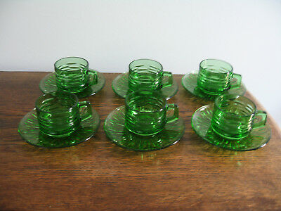 Vintage Set Textured Green Glass Coffee Cups & Saucers Vereco France Excon