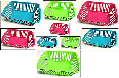 Plastic Storage Basket Available In Pink Green & Blue Available In Three Sizes