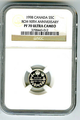 1908-1998 Canada Silver Proof 5 Cent Ngc Pf70 Rcm 90Th Anniversary Top Pop20