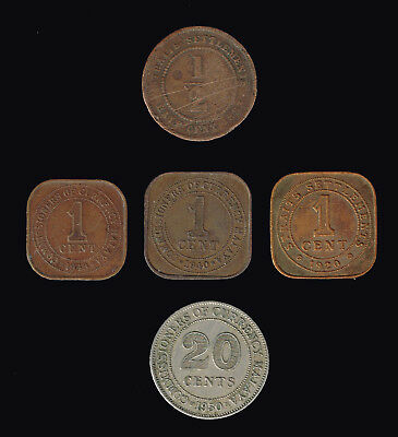 MALAYA/STRAITS Settlements :- 5 different British rule coins. AP6859