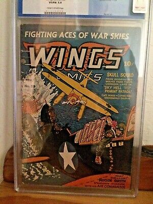 Wings Comics Number 39 CGC Graded VG/FN 5.0 Nov. 1943 War Cover Stories Nazi Jap