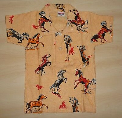 VINTAGE 1970's UNWORN BOYS 'FARMER' PEACH HORSE PRINTED POLO T-SHIRT AGE 3 YEARS