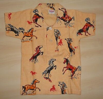VINTAGE 1970's UNWORN BOYS 'FARMER' PEACH HORSE PRINTED POLO T-SHIRT AGE 4 YEARS