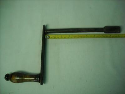 """Antique Victorian Table Winder 9"""" 23cm Shaft 1/2"""" 12mm Hole Wood and Iron"""