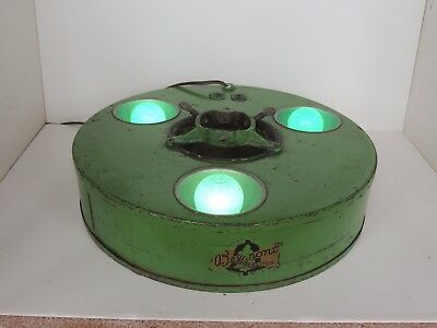 Old Belmont Christmas tree stand treeliter 3 bulb 2 outlet electric label WORKS!