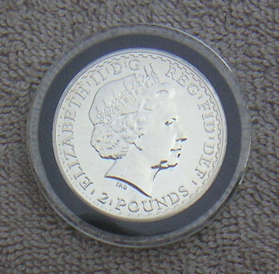 Great Britain UK 2009 Two Pounds One 1 Ounce Fine Silver Coin in Capsule Neptune