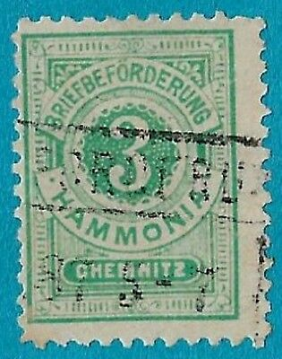 + 1887 Chemnitz Saxony German States Numeral Value 3pf Local Private Post used