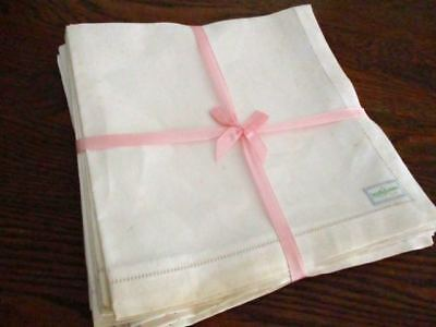 "12 Antique  UNUSED Napkins Labeled 100% Pure Irish  Linen  16 1/2""  Vintage"