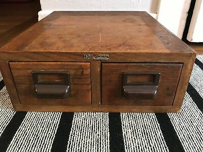 Globe Wernicke Double Drawer Card Catalog File Library Cabinet