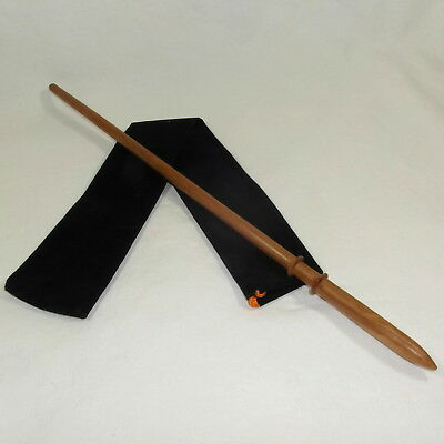 """16"""" Draco Hand Turned Almond Wood Magic Wand Wizard Wiccan w/ Free Velvet Bag"""
