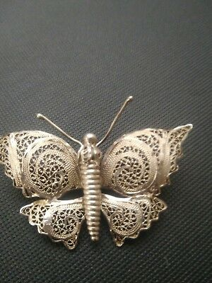 Portuguese Silver Filigree Butterfly Pin - Vintage 60's To 70's...beautiful