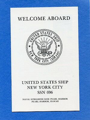 Submarine USS New York City SSN 696 Welcome Aboard Navy Ceremony Program