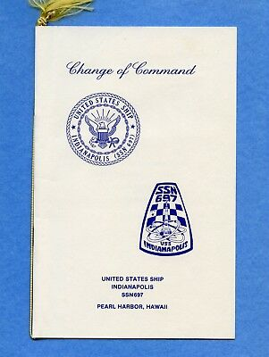 Submarine USS Indianapolis SSN 697 Change of Command Navy Ceremony Program