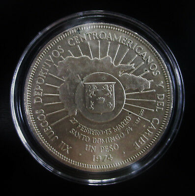 Silver Dominican Republic Peso Central American Games Commemorative KM#35 171104