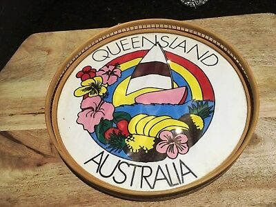 Queensland,Australia-Retro 1960's Bar Tray-Colourful-Cane-Glass-Taiwan Made-Fab!